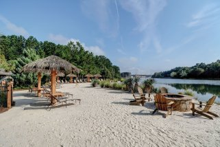 Homes in Hampton Lake have access to many amenities like this beach.